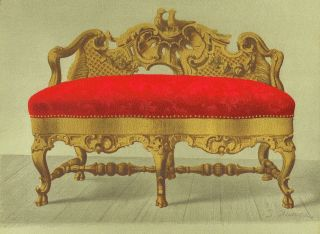 Rococo Style Sofa - Gold Walnut Furniture Decor Art Antique Lithograph Print 1888 photo