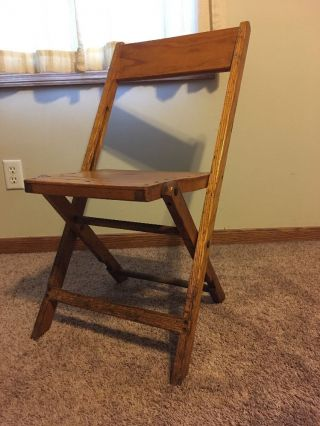 Antique Vitg Slat Wood Folding Chair Snyder Co.  Oak Usa photo