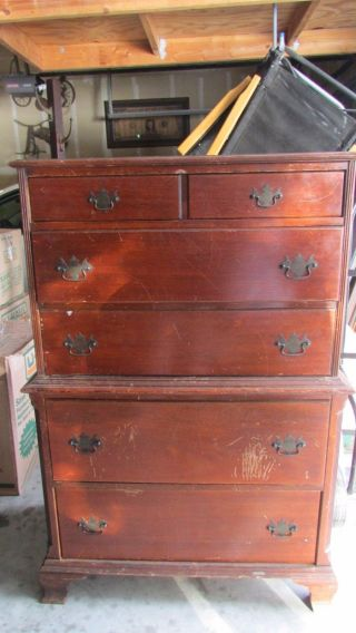 Early 20th Century American Highboy Dresser Solid Wood Construction photo