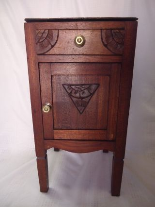 Antique Hand Carved Side Cabinet Nightstand End Table Art Deco photo