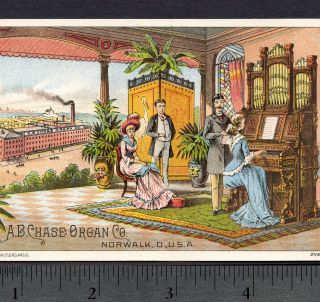 1800 ' S A.  B.  Chase Organ Co Norwalk Ohio Factory Victorian Advertising Trade Card photo