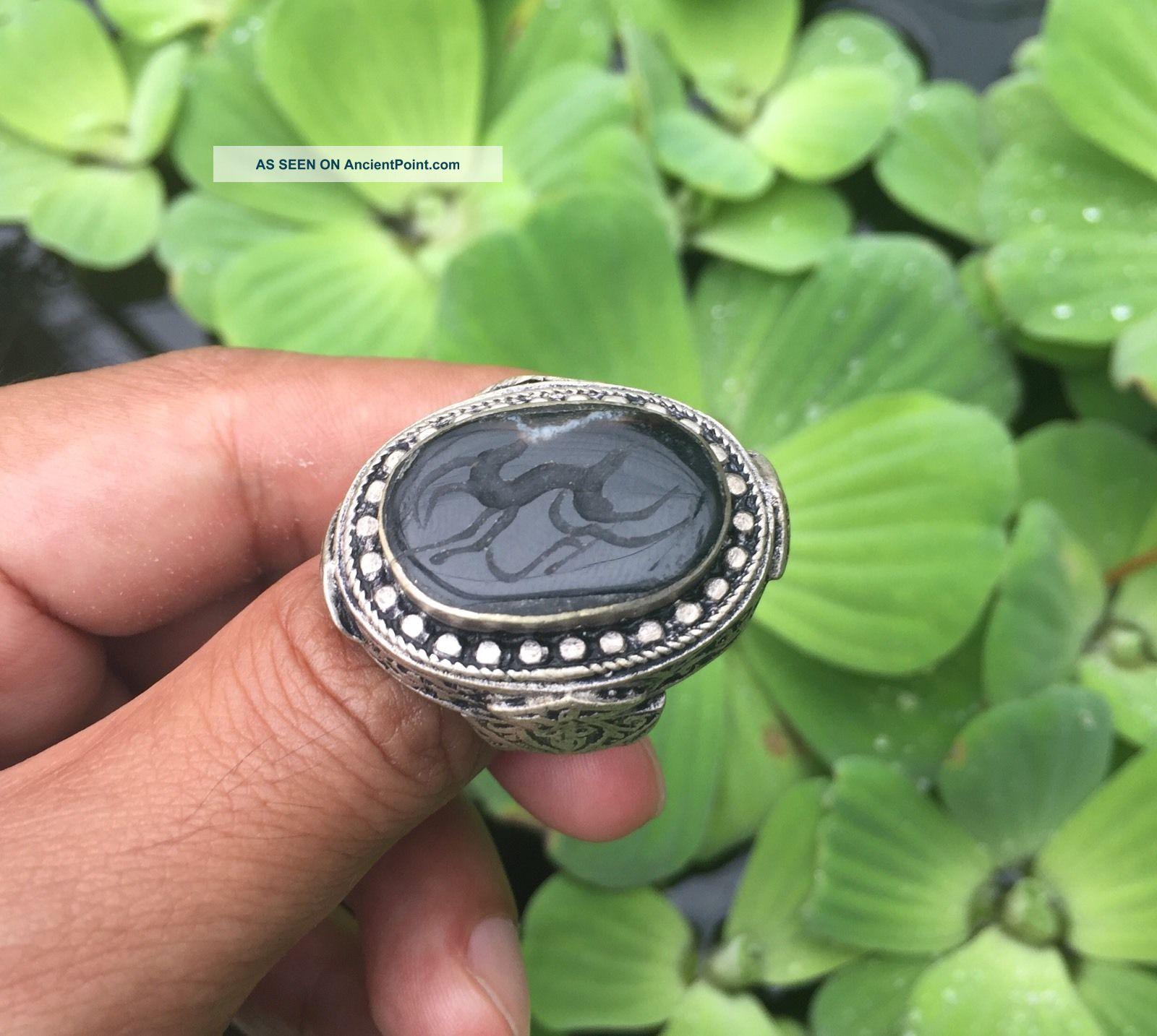 Near Eastern Engraved Black Agate Rings Vintage Islamic Onyx Animal Intaglio 9 Islamic photo