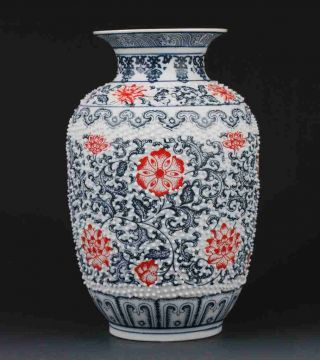 Chinese Blue And White Porcelain Hand - Painted Safflower Vase W Qianlong Mark photo