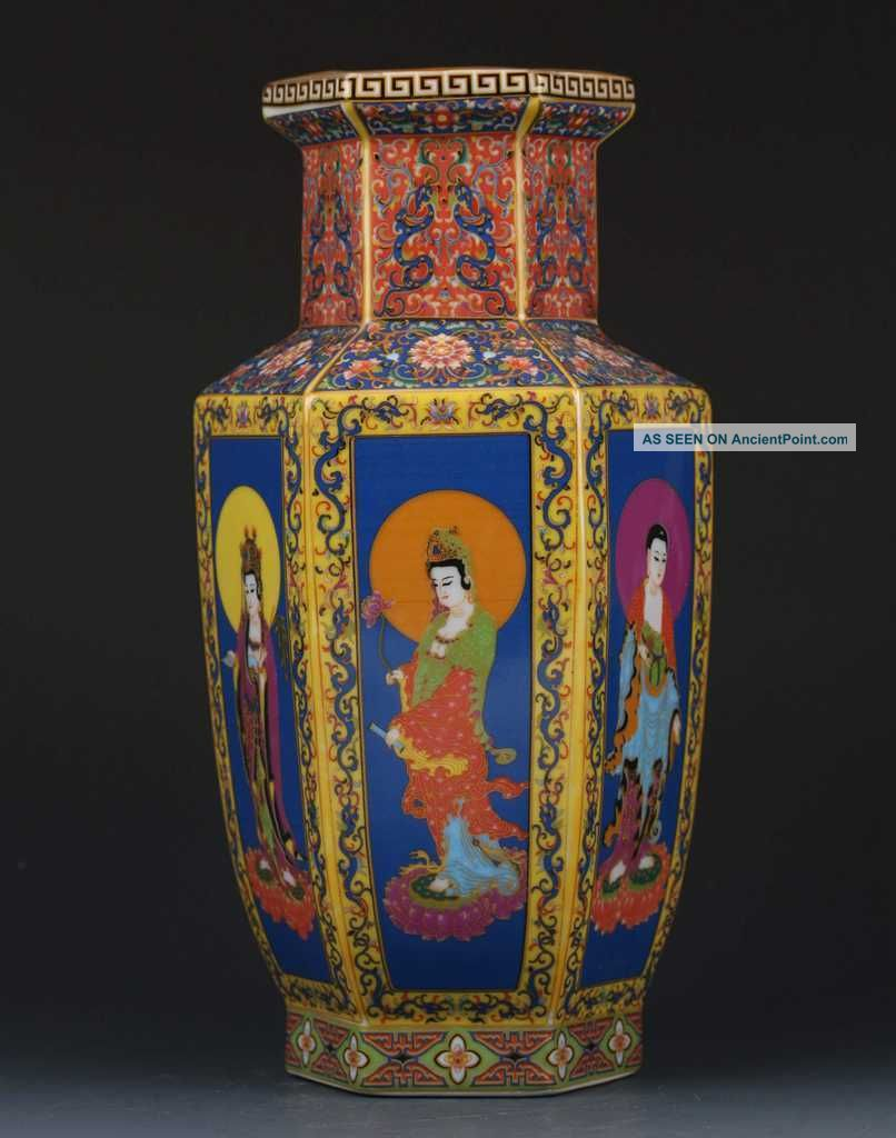 Chinese Cloisonne Paint Character Porcelain Vase W Yongzheng