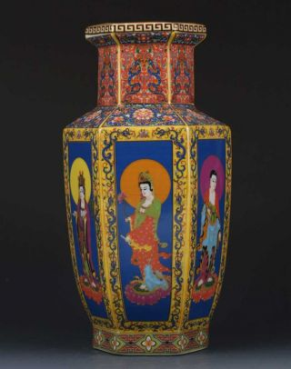 Chinese Cloisonne Paint Character Porcelain Vase W Yongzheng Mark photo
