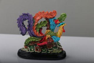 Exquisite Hand Carved Cloisonne Colour Enamels Phoenix Porcelain Statue J986 photo