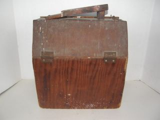Antique Wooden Large Shoeshine Box Container With Accessories In Photos photo