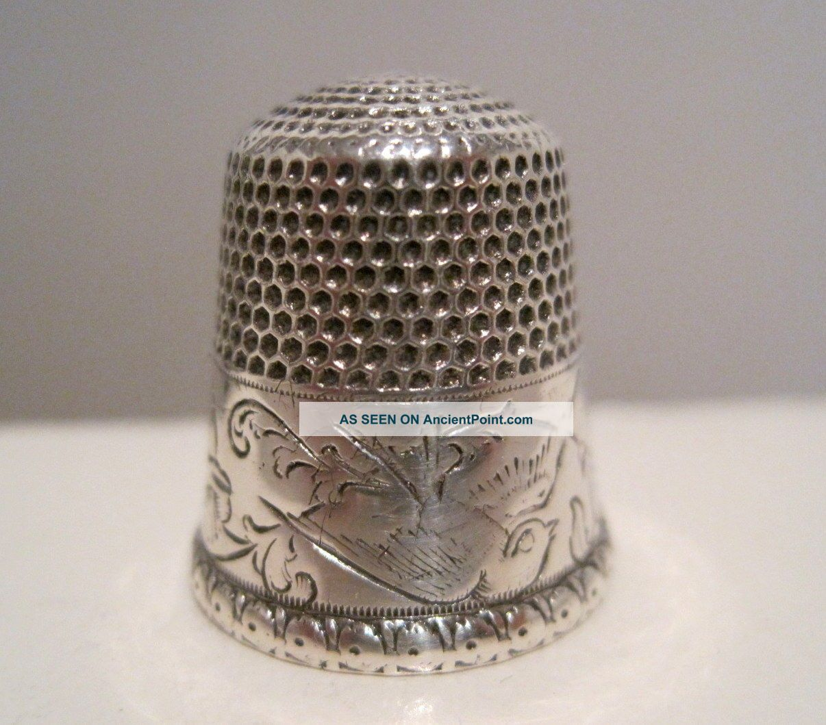 Scarce Stern Bros 9 Antique Sterling Silver Bird & Bell Flower Thimble C.  1900 Thimbles photo