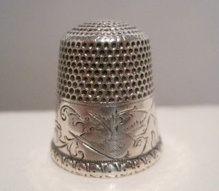 Scarce Stern Bros 9 Antique Sterling Silver Bird & Bell Flower Thimble C.  1900 photo