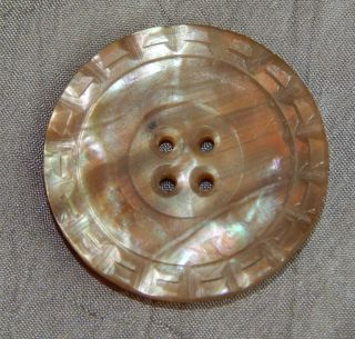 Antique Vintage Button Carved Mother Of Pearl Abalone Shell 145 - A photo