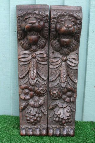Stunning Pair 18thc Gothic Wooden Rosewood Lion Head Carved Corbels C1780s photo