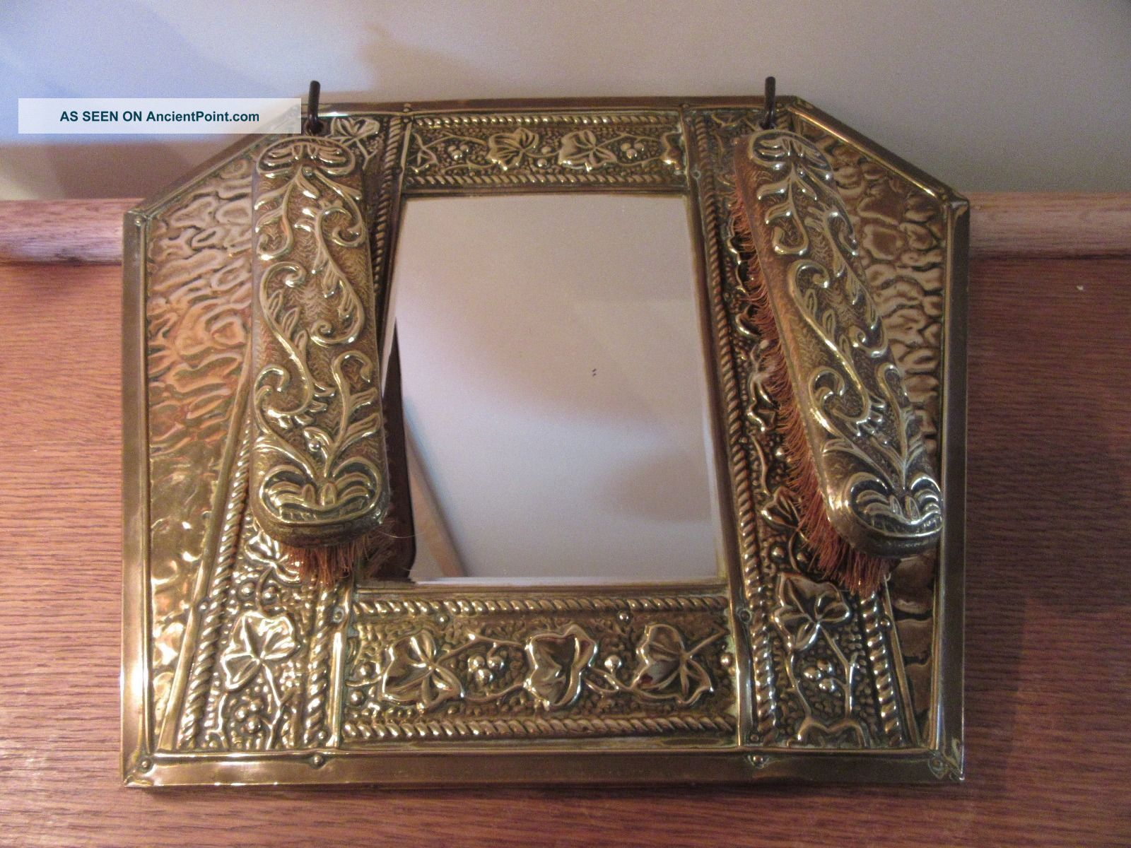 Vintage Art Deco Brass Hall Mirror With Clothes Brushes 20th Century photo