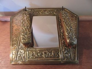 Vintage Art Deco Brass Hall Mirror With Clothes Brushes photo