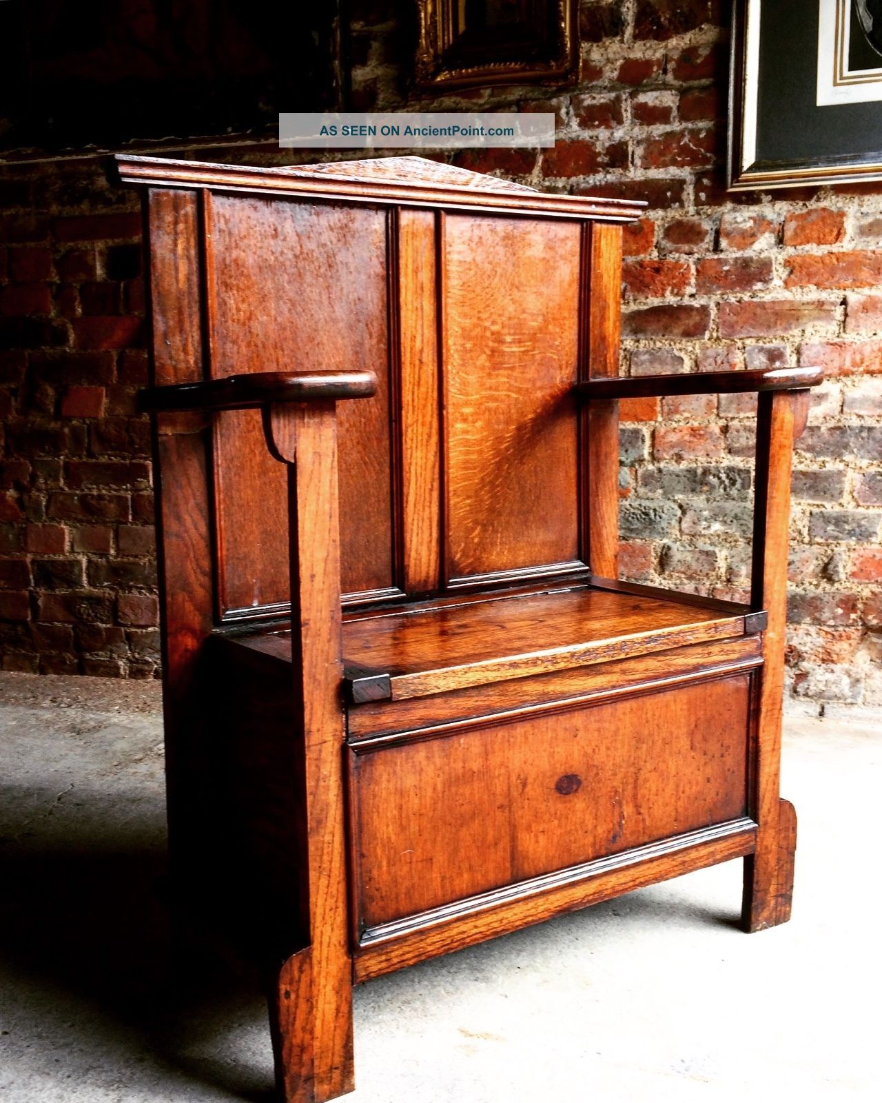 Gorgeous Antique Hall Chair Umbrella Stand Solid Oak Edwardian 20th Century 1900 Stands photo
