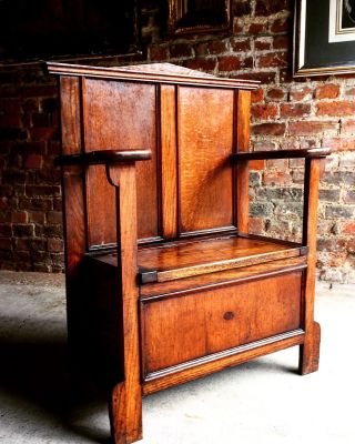 Gorgeous Antique Hall Chair Umbrella Stand Solid Oak Edwardian 20th Century 1900 photo