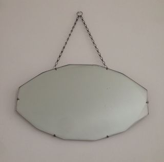 Vintage Art Deco Iconic Frameless Beveled Edge Hanging Wall Mirror With Chain photo