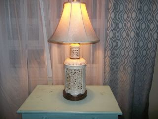 Blanc De Chine Seyei Pierced Porcelain Table Lamp Chinese Asian photo