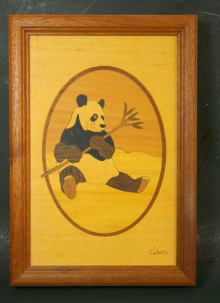 Vintage Marquetry Inlaid Wood Panda Bear Picture Artist Signed photo