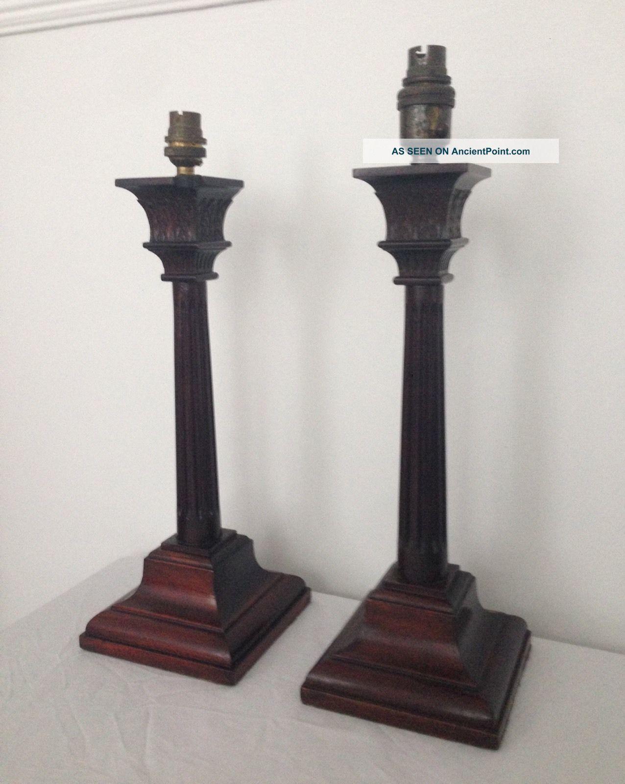 Large Vintage Edwardian Mahogany Corinthian Column Table Lamp 20th Century photo