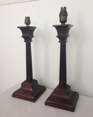 Large Vintage Edwardian Mahogany Corinthian Column Table Lamp photo