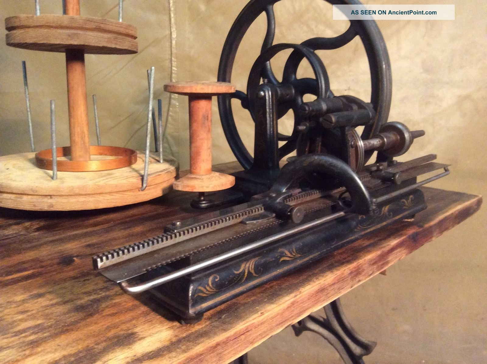 Antique Rare Knitting Machine (hinkley One Needle,  1866).  Sewing Vintage Other Antique Sewing photo