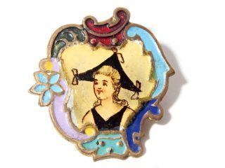 (1) Rare Victorian Bohemian Hand Painted Pictorial Champleve Enamel Gilt Button photo