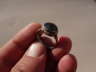 Ancient Late Roman - Middle Ages Silver Ring,  With Green Glass Intaglio photo