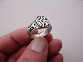 Ancient Late Roman Or Byzantine Silver Engraved Ring photo