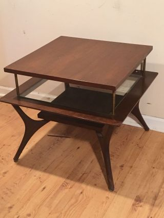 Mid Century Modern Square End Table Lamp Table Herman Miller Eames Nelson Era photo