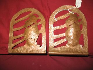 Antique Pair Arts And Craft Copper Bookends Ships Art Deco Hand Hammered photo