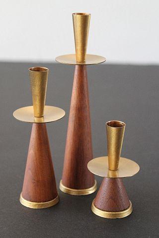 Danish Modern Trio Solid Teak & Golden Brass Petite Candle Holders photo