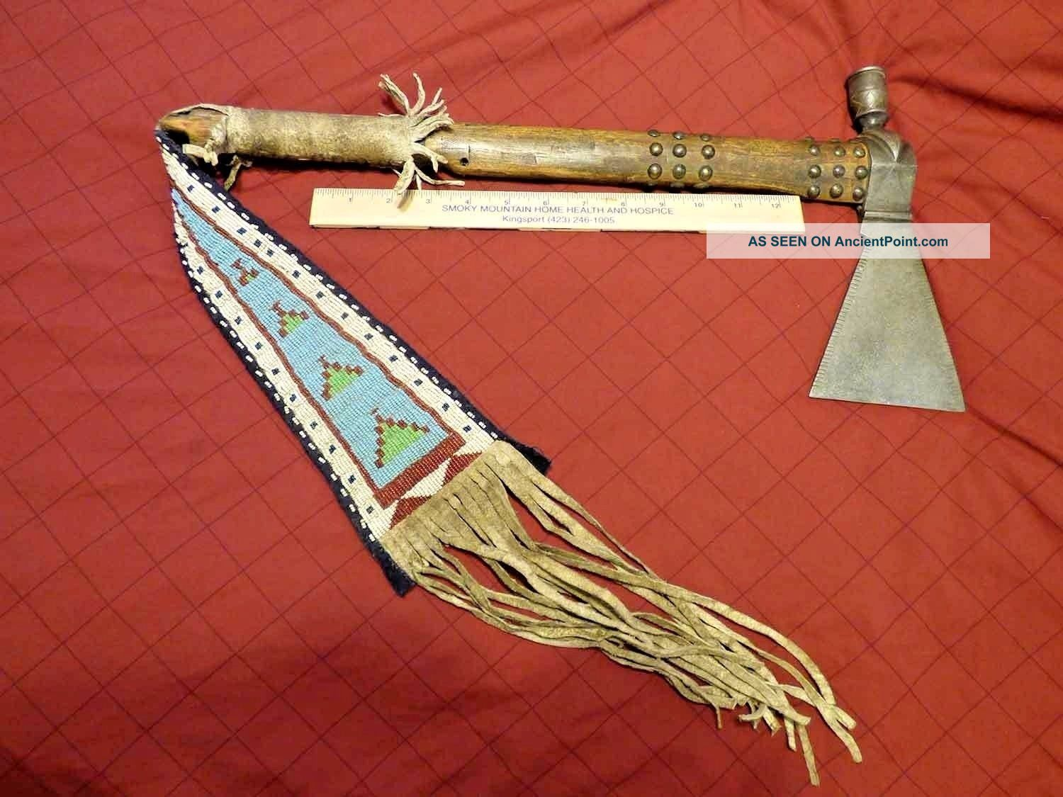 Apache Indian Pipe Tomahawk Beaded Hide Drop Engraved Head Very Old Native American photo