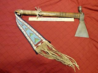 Apache Indian Pipe Tomahawk Beaded Hide Drop Engraved Head Very Old photo