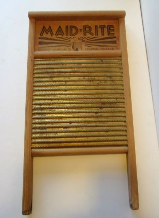 Vintage Maid - Rite Brass Standard Family Size Washboard No 2062 photo