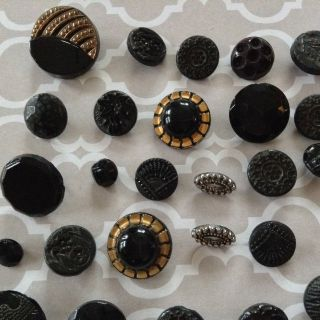 Fancy Black Glass Buttons Lustre Mourning Lacy Czech Floral Victorian Gold Gilt photo