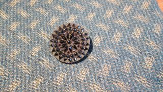 Striking Victorian Era 19th Century Large Black Lacy Glass Pattern Button photo