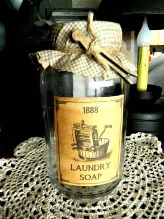 Laundry Soap Jar Aged Label Fabric Top Primitive Vintage Look Shabby Country photo