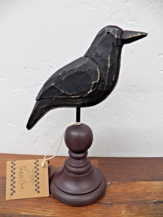 Primitive Country Folk Art Wooden Crow On Turned Spindle Base photo