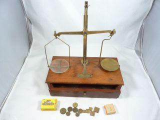H.  Evans & Sons Dublin De - Grave Short London Brass Beam Balance Scale & Weights photo