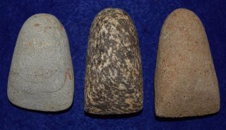 3 Medium Sized Hard Stone Celts From The Sahara Neolithic,  Over 2.  5 Inches Long photo