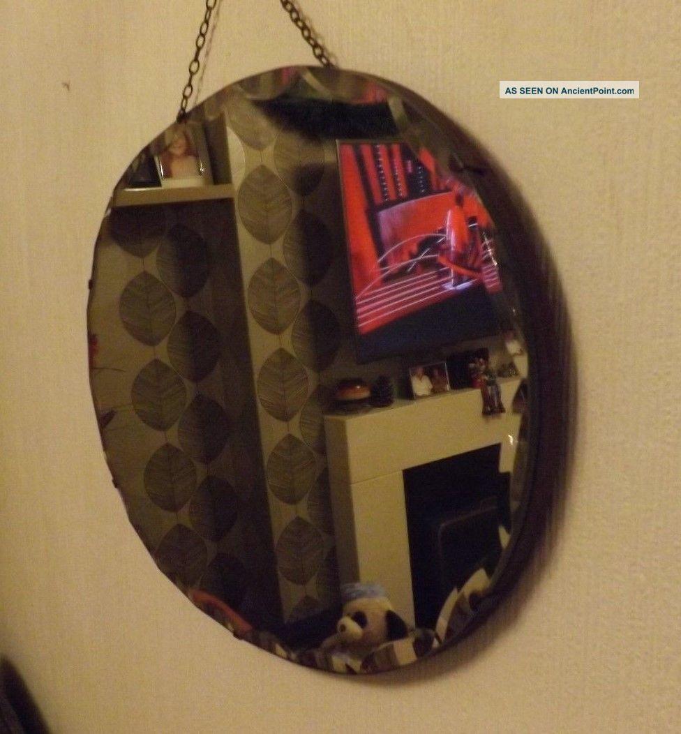 Vintage Oval Frameless Scalloped Edge Mirror 20th Century photo