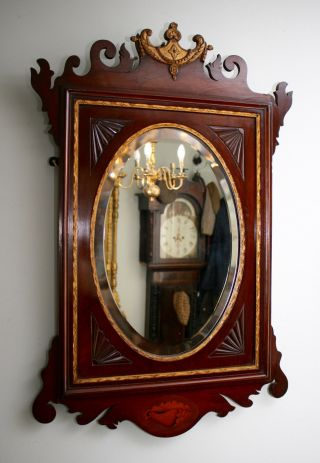 Antique C19th Shell Inlaid Mirror In The Georgian Taste photo