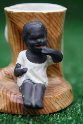 19thc Seated Blackamoor Child Figure With Match Holder To Rear C1880s photo