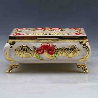 Chinese Collectable Cloisonne Handwork Flowers Box photo
