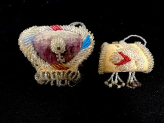 2 Mini Iroquois Bead Work Box Purses Native American Aafa photo