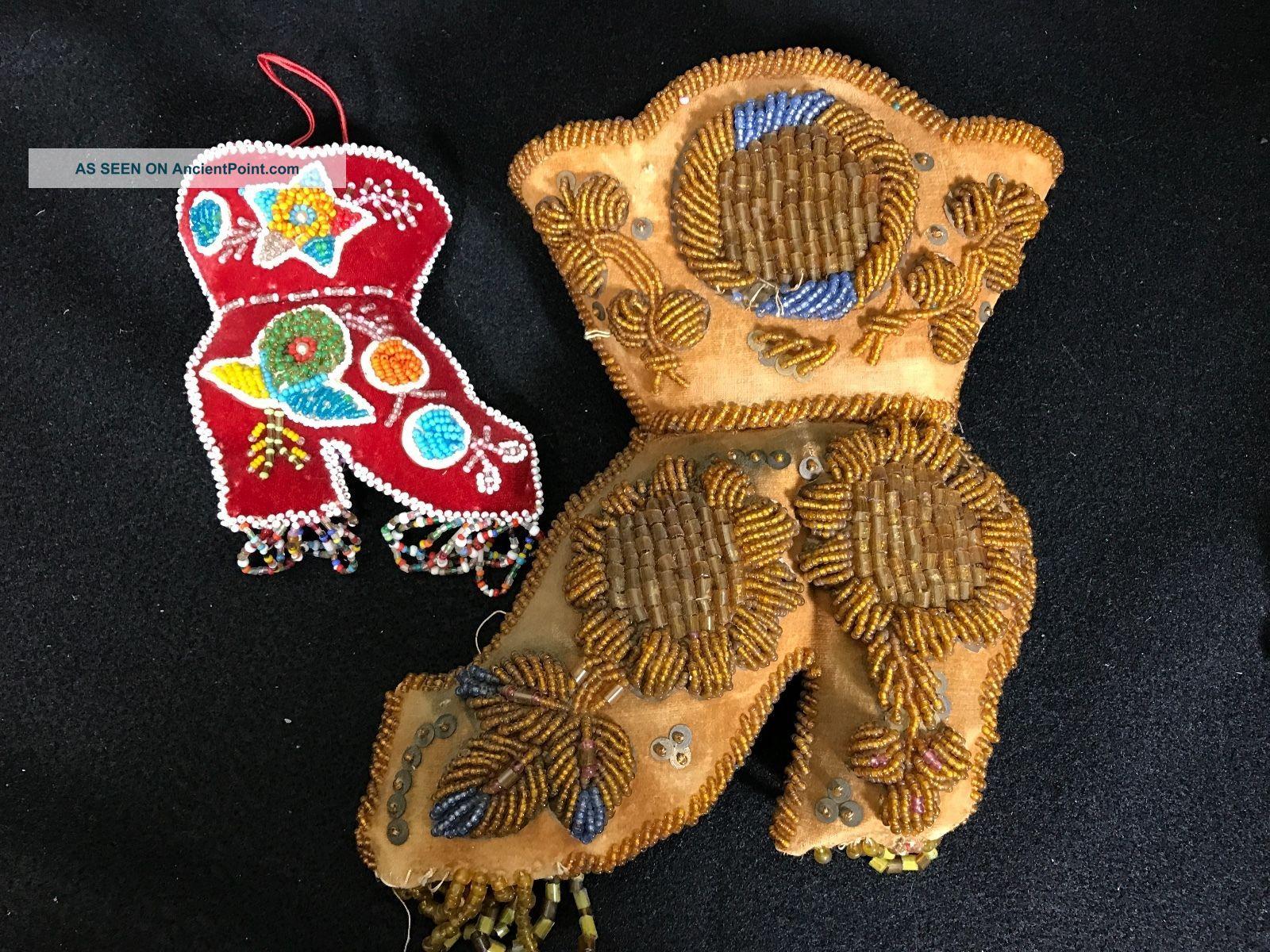 2 Iroquois Bead Work Boot Pin Cushions Native American Aafa Native American photo