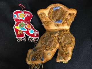 2 Iroquois Bead Work Boot Pin Cushions Native American Aafa photo