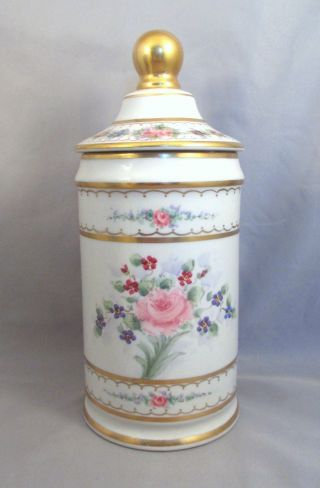 Signed Antique French Limoges Porcelain Pharmacy Apothecary Vanity Bottle Jar Nr photo