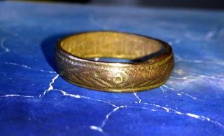 Medieval Period,  Bronze Ring With A Ornaments.  17th Century photo