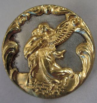 "Lrg 1 1/2"" Antique Victorian Chased Gold Repousse Guardian Angel Mourning Button photo"